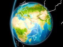 Le Qatar de l'espace dans la soirée illustration de vecteur