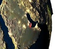 Le Qatar de l'espace pendant le crépuscule Image stock