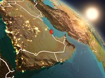Le Qatar de l'espace pendant le lever de soleil Images libres de droits