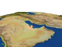 Le Qatar en rouge d'orbite Images libres de droits