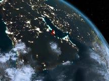 Le Qatar la nuit d'orbite Image libre de droits