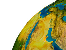 Le Qatar sur le globe Photographie stock libre de droits