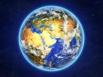Le Qatar sur terre de l'espace illustration stock