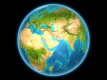 Le Qatar sur terre de planète Images libres de droits