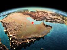 Le Qatar sur terre de planète dans l'espace Photo libre de droits