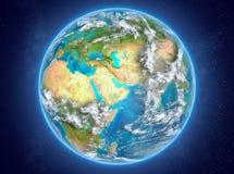 Le Qatar sur terre de planète dans l'espace Image stock