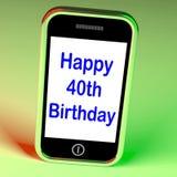 Le quarantesime manifestazioni felici di Smartphone di compleanno celebrano Fotografia Stock Libera da Diritti