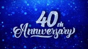 le quarantième anniversaire souhaite les particules de scintillement de clignotement de la poussière de scintillement bleu faites illustration de vecteur