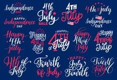 Le quatrième de juillet, des expressions manuscrites a placé pour la carte de voeux, la bannière etc. Collection de calligraphie  illustration stock