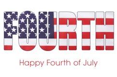 Le quatrième du drapeau de juillet marque avec des lettres le contour Photos stock