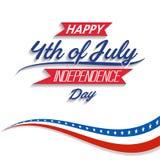 Le quatrième heureux de Jour de la Déclaration d'Indépendance des Etats-Unis de juillet célèbrent illustration libre de droits