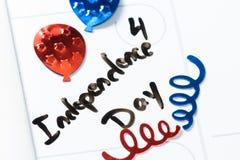 Le quatrième juillet, Jour de la Déclaration d'Indépendance heureux Photos libres de droits