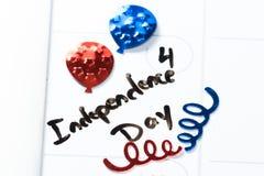 Le quatrième juillet, Jour de la Déclaration d'Indépendance heureux Image stock