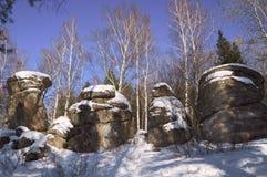 Le quattro sorelle delle rocce sotto Belokurikha fotografia stock