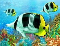 Le récif coralien - illustration pour les enfants Photographie stock libre de droits