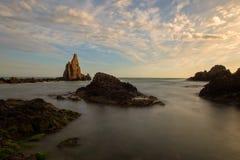 Le récif des sirènes de cap au coucher du soleil Images libres de droits