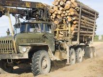 Le récipient de transport de bois de construction Photographie stock libre de droits