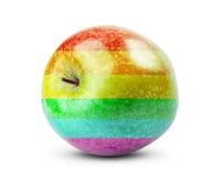 Le régime frais Apple portent des fruits avec des couleurs de l'arc-en-ciel Images stock