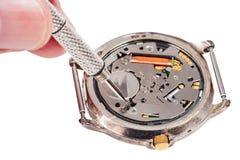 Le réparateur remplace la batterie dans la montre de quartz Images libres de droits
