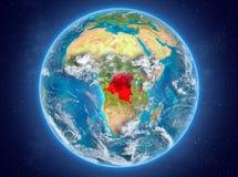 Le République démocratique du Congo sur terre de planète dans l'espace illustration libre de droits