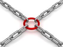 Le réseau a attaché par une boucle rouge. illustration libre de droits