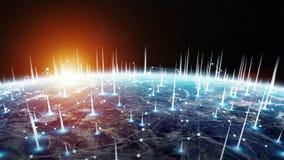 Le réseau global et les échanges de données au-dessus de la terre 3D de planète les déchirent Image stock