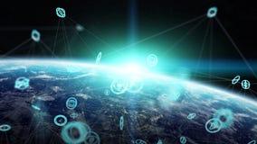 Le réseau global et les échanges de données au-dessus de la terre 3D de planète les déchirent Photos libres de droits