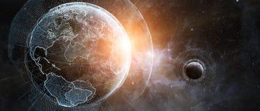Le réseau global et les échanges de données au-dessus de la terre 3D de planète les déchirent Photo libre de droits
