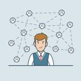 Le réseau plat linéaire d'homme d'affaires raye le vecto d'icônes illustration stock
