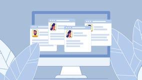 Le réseau social profile l'illustration plate de vecteur illustration de vecteur