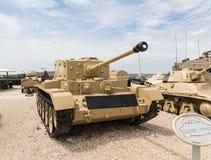 Le réservoir britannique Cromwell se trouve sur le chantier commémoratif près du musée blindé de corps dans Latrun, Israël image stock