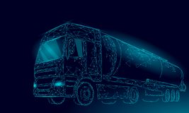 Le réservoir 3D de route de camion d'huile rendent bas poly Réservoir diesel d'industrie de finances de pétrole de carburant Carg illustration de vecteur