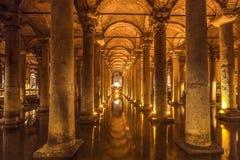 Le réservoir de basilique - réservoir d'eau souterrain C'était construction par l'empereur Justinianus au 6ème siècle, Istanbul, Photo libre de droits