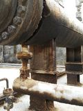 Le réservoir de la soute c de stockage à l'intérieur de la salle d'huile usagée, et ce réservoir étaient également passionnés par photos stock