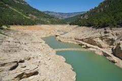 Le réservoir du manque d'Ulldecona de pluies Espagne images stock
