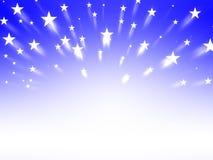 Le résumé a éclaté la couleur bleue et les étoiles de gradient de fond Photos stock