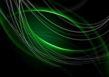 Le résumé de retour a allumé le fond vert avec courber les bandes vertes Photo libre de droits