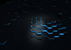 Le résumé extérieur réfléchi noir futuriste 3d rendent Images stock