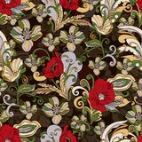 Le résumé fleurit le modèle sans couture, fond floral de vecteur, bande dessinée tirée par la main, ornement élégant exquis color Photo libre de droits