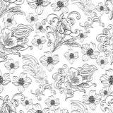 Le résumé fleurit le modèle sans couture, fond noir et blanc floral de découpe de vecteur, Photos libres de droits