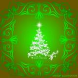Le résumé ondule le fond avec l'arbre de Noël Illustration dans des couleurs vertes et blanches Illustration de vecteur Photo stock