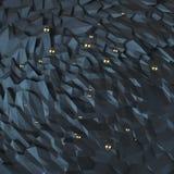 Le résumé polygonal a fripé la surface triangulaire avec des sphères en métal flottant en haut Photo libre de droits