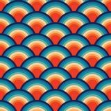 Le résumé rétro Backround sans couture ondule le modèle sans couture de cru bleu orange répétant le modèle illustration stock