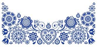 Le rétro design de carte de salutation de vecteur d'art populaire, ornement floral a inspiré par art scandinave illustration stock