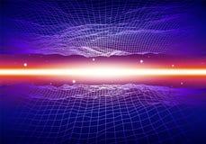 Le rétro fond au néon avec 80s a dénommé la grille et les étoiles de laser illustration libre de droits