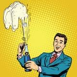 Le rétro homme ouvre des vacances de célébration de partie de champagne illustration stock