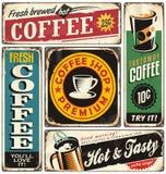Le rétro métal de café signe la collection Image libre de droits