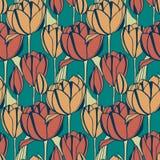 Le rétro modèle de vecteur sans couture avec la tulipe tirée par la main fleurit conception pour le textile, intérieur, empaqueta Image libre de droits