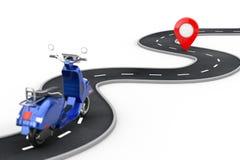 Le r?tro ou ?lectrique scooter de cru classique bleu suivent au-dessus de la route d'enroulement ? la destination Pin Target Poin illustration de vecteur