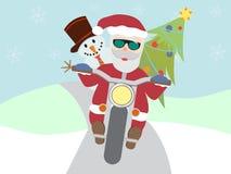 Le rétro père noël sur la moto avec le bonhomme de neige plat image libre de droits